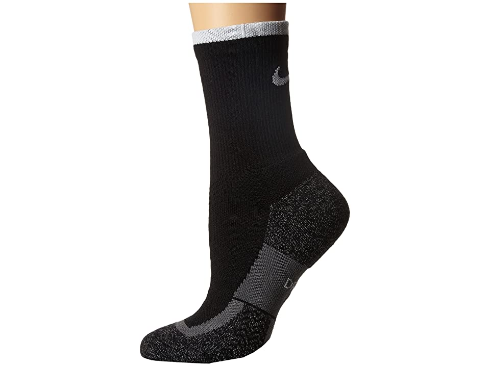 Nike Elite Tennis Crew (Black/White/White) Crew Cut Socks Shoes