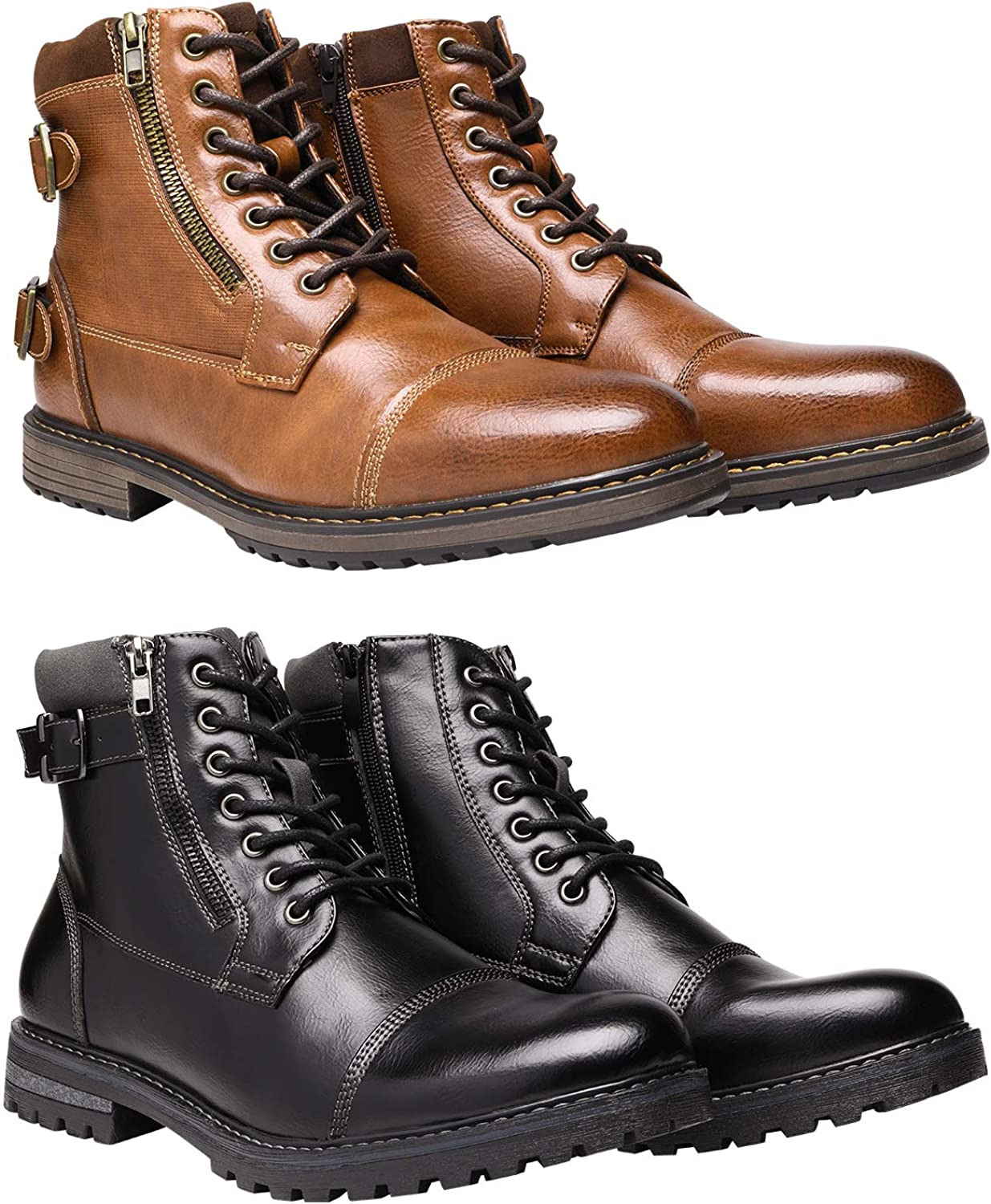 Bruno Marc Men's Motorcycle Boots Bundle with Men's Oxford Boots Size 11