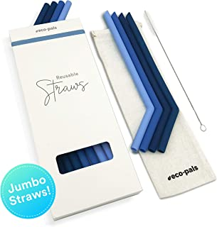 Eco Pals | Smoothie Straws - Curved Jumbo Silicone Straws with Case and Straw Cleaning Brush! Long Straws in Earth Tones - Dishwasher Safe Straws, Non Plastic/Yeti Long Tumbler Straw (Set of 8)