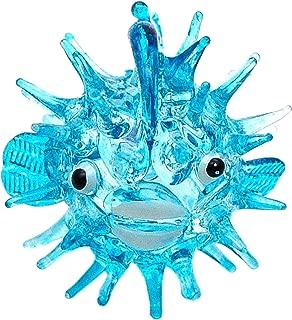 Zoo Craft Hand Blown Glass Figurine Blue Puffer Fish Handmade Miniature Animal Art