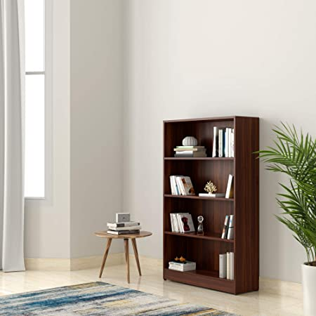 Amazon Brand - Solimo Glanville Engineered Wood Bookcase with 4 Shelves (Walnut)