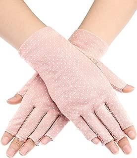 Maxdot Sunblock Fingerless Gloves Non-slip UV Protection Driving Gloves Summer Outdoor Gloves for Women and Girls