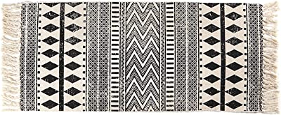 Seavish Cotton Printed Rug, 2'W x 4.4'L Decorative Black and White Diamond Geometric Kilim Area Rug Hand Woven Rug for Entryway Thin Runner Throw Rugs with Non Slip Pad for Laundry Room Living Room Do