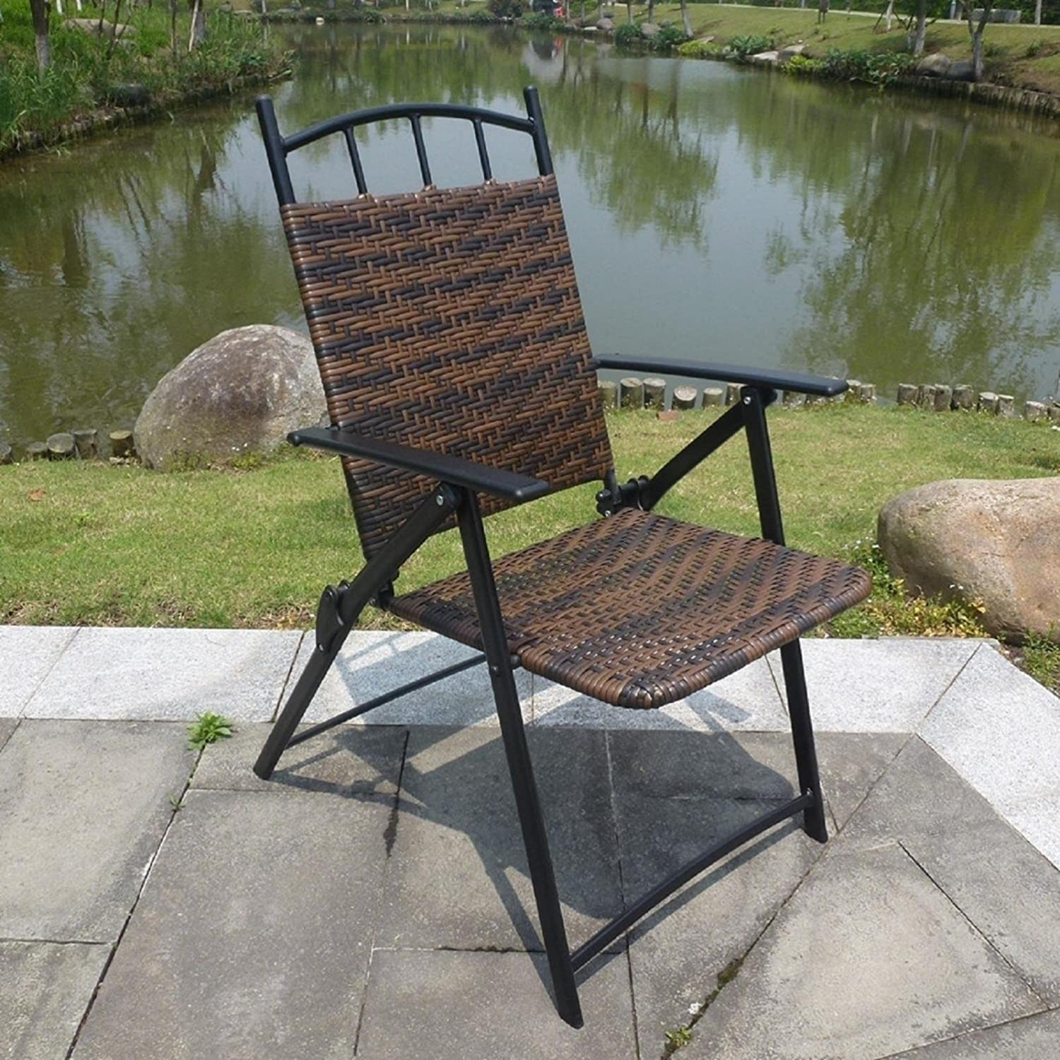 JUIANG Folding Chair Garden Rattan Back Rest Portable Outdoor Leisure Farm Balcony Park Iron Wrought Iron Chairs LoadBearing150Kg