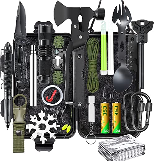 Gifts for Men, Survival Gear and Equipment kit 21 in 1, Professional Cool Gadgets Stuff Tactical Tool, Emergency Survival Kit Hunting Outdoors Camping Hiking