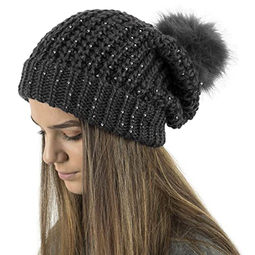 6edf38fb2fc TOSKATOK® Ladies Chunky Knit Slouch Beanie with Sparkle Accent Sequins and  Faux Fur Detachable Pompom