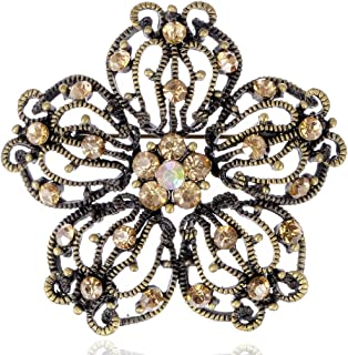Alilang Intricate Vintage Inspired Antique Tone Multicolored Floral Crystal Flower Brooch Pin