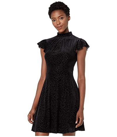 Adrianna Papell Spotted Burnout Fit and Flare Mock Neck Dress (Black) Women