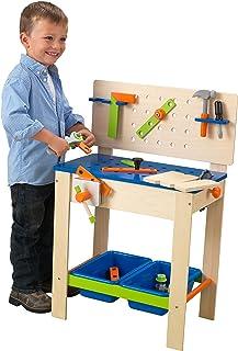 KidKraft 63329 deluxe arbetsbänk av trä för barn träleksak med verktyg och tillbehör – lekbord lekset med förvaringsutrymm...