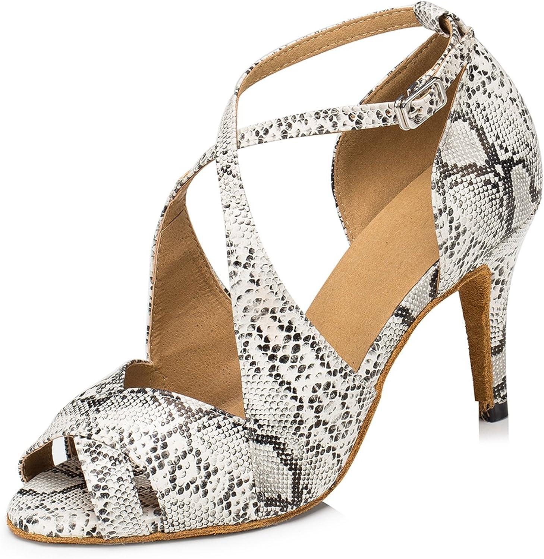 MINITOO Women's Fashion Leopard PU Leather Latin Salsa Ballroom Dance Shoes L191