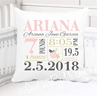 Sew Cute by Me Designs Original Birth Announcement Pillow for Baby Girls Nursery - Pink Gold Grey Floral - Includes Personalized Pillowcase and Pillow Insert 14x14 or 16x16
