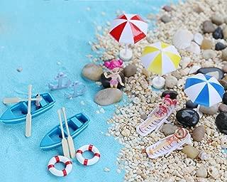 Bombom Tree 22 Pcs Beach Style Miniature Ornament Kits Set for DIY Fairy Garden Dollhouse Decoration, Blue Sand/Cute Girls/Beach Chair/Boat/Oars/Beach Umbrellas/Swimming RingLift Buoy/Starfish
