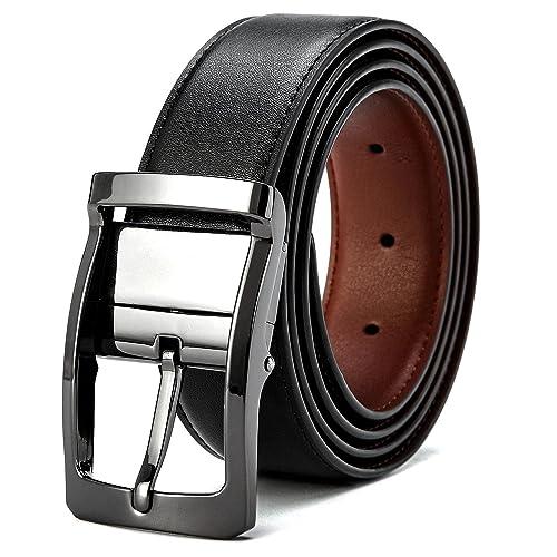 VICSPORT Ceinture réversible pour homme en cuir ceinture en noire mode  ceinture chic le costume et 0597b02fb8d