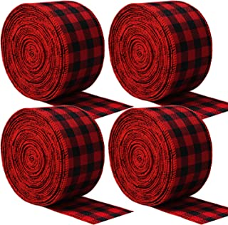 URATOT Red and Black Plaid Burlap Ribbon Christmas Wired Ribbon Wrapping Ribbon for Christmas Crafts Decoration, Floral Bows Craft, 236 by 2.48 Inch, 4 Rolls