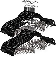 SONGMICS 30 Pack Velvet Skirt Hangers, Velvet Pants Hangers with Clips, Heavy Duty Hangers Non Slip Velvet, Velvet Bottom Hangers with Clips, Skirt Hangers Space Saving, Black UCRF12B30