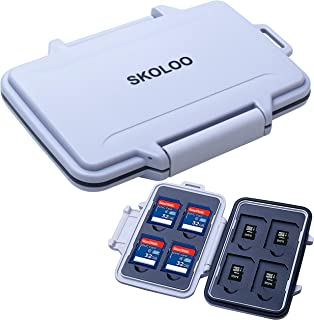 SD Card Case Compact Flash Memory Card Holder Micro Storage & Wallet for Card, Grey