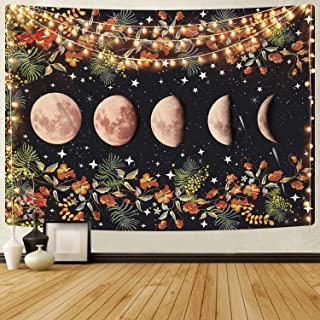 Moonlit Garden Tapestry, Moon Phase Tapestries Flower Vine Tapestry Black Background Floral Tapestry Wall Hanging for Room...