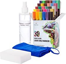 Liquid Chalk Markers 30 Colors by Positive Art: Bright Colors, Painting and Drawing for Kids and Adults, Window and Board Art for Bistros, Bars - Reversible Tip (Combo: with Spray and Erasers)