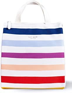 Kate Spade New York Portable Soft Cooler Lunch Bag with Silver Insulated Interior Lining and Storage Pocket (Candy Stripe)
