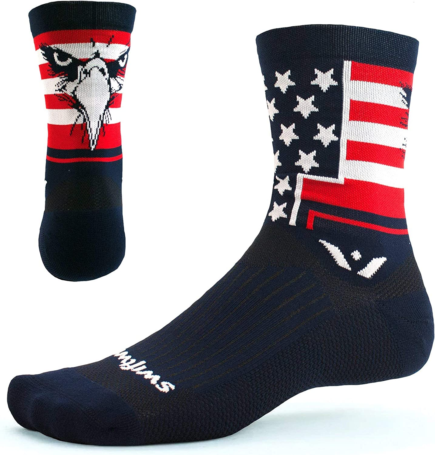 Swiftwick- VISION FIVE Running & Cycling Socks for Men & Women- Fast Dry, Cushioned, Crew