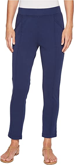 Soft As Cashmere Cotton Interlock Raw Edge Seamed Ankle Length Pants