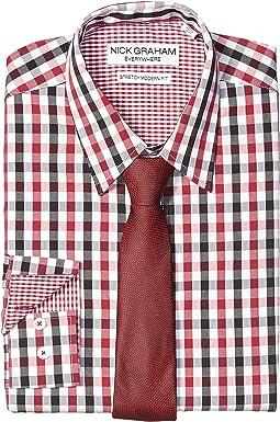 Gingham Contrast CVC Stretch Dress Shirt & Tie Set