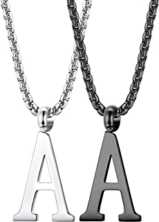 2PCS Stainless Steel Initial Letter Necklace Minimalist Alphabet Name Jewelry for Men Women Personalized Charm Pendant Necklace