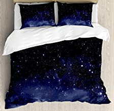 Beauty Decor Night Duvet Cover Set Ethereal View of the Dark Sky Atmosphere Nebula Fantasy Cosmic Universe Theme Microfiber Bedding Sets with Zipper and Corner Ties Dark Blue White (4 Pcs, Queen)