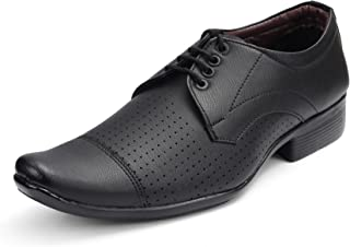Bonexy Men's Black Leather Formal Shoes