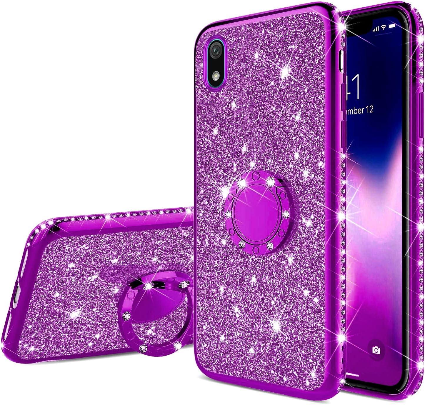 Coque Compatible avec Huawei Y5 2019 Coque Silicone Bling Gliter Paillette Brillant Luxe Strass Coque Etui Bague Support Téléphone TPU Souple ...