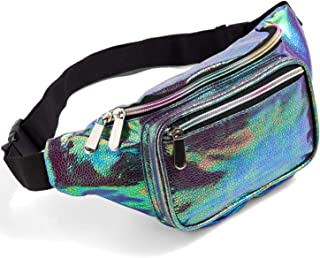 Blue Fanny Pack for Women Girls 80s Holographic Rave Festival Party Cute Fashion Waist Bag Belt Bags (Blue Pearl)