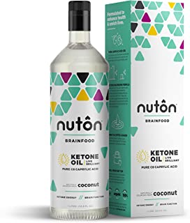Pure C8 MCT Oil - 33.8 oz Ketone Oil by Nuton   Better Than Blends for Keto Diet   Caprylic Acid has Most efficient and Clean Ketone Production