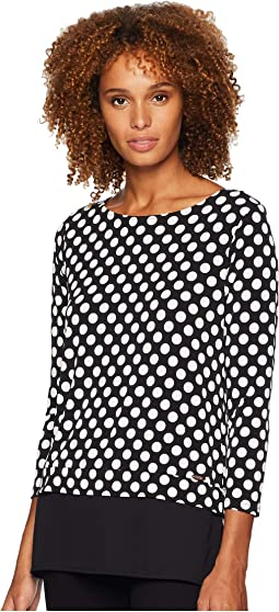 Polka Dot Printed Long Sleeve Knit 2-Pher Top