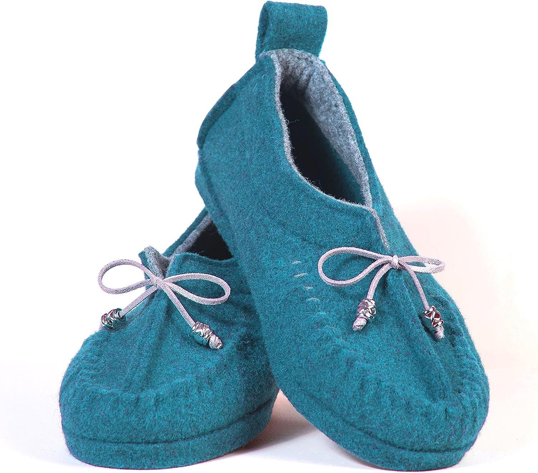 BELITI Wool Felt Warm Flat Moccasin Slippers bluee