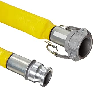 """Goodyear EP Spiraflex Yellow PVC Suction/Discharge Hose Assembly, 1-1/2"""" Aluminum Cam And Groove Connection, 200 PSI Maxim..."""