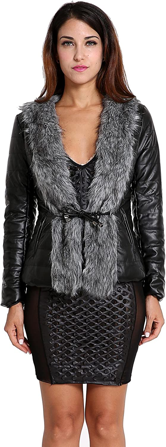 Etuoji Women Short Leather Jacket with Faux Fur Collar Coat Drawstring Waist Design (Black)