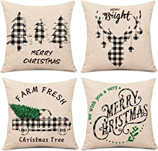 Whaline 4 Pieces Black White Christmas Scottish Buffalo Checkers Plaid Pillow Case Christmas Car Reindeer Xmas Tree Cushion Cover, Cotton Linen Sofa Bed Throw Cushion Cover Decoration (18
