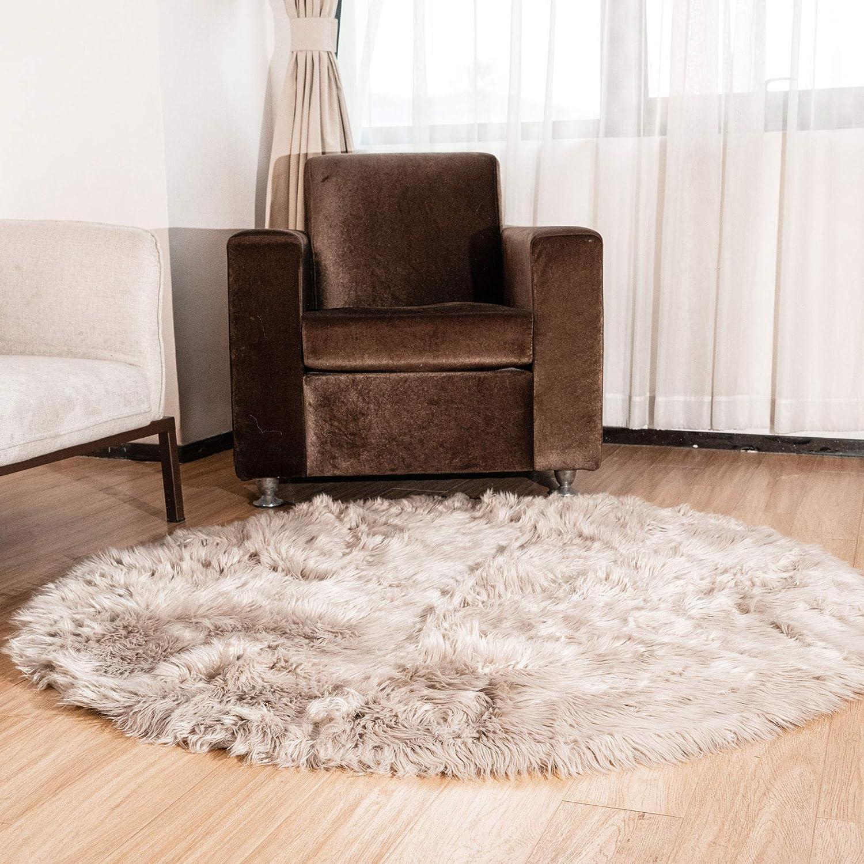 1 year warranty Super Area Deluxe Rugs Round Faux Rug Fluffy Ligh in Sheepskin