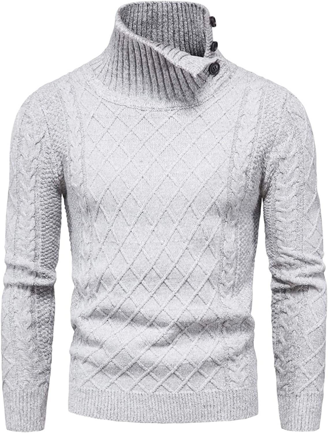ZSBAYU Men's Button Turtleneck Pullover Sweaters Fashion Casual Cotton Blend Long Sleeve Thermal Sweatershirt Jumpers