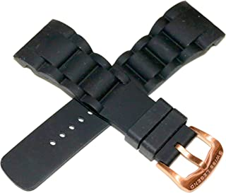 Swiss Legend 29MM Black Silicone Rubber Watch Strap and Rose Gold Buckle Fits 47mm Commander Watch