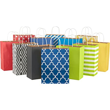 """Hallmark 12"""" Large Paper Gift Bag Assortment, Pack of 12 in Blues, Red, Yellow, Black - Solids and Geometric Patterns for Birthdays, Father's Day, Holidays and More"""
