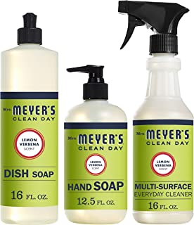 Mrs. Meyers Clean Day Lemon Verbena Dish Soap (16 fl oz), Hand Soap (12.5 fl oz), Multi-Surface Everyday Cleaner (16 fl oz)
