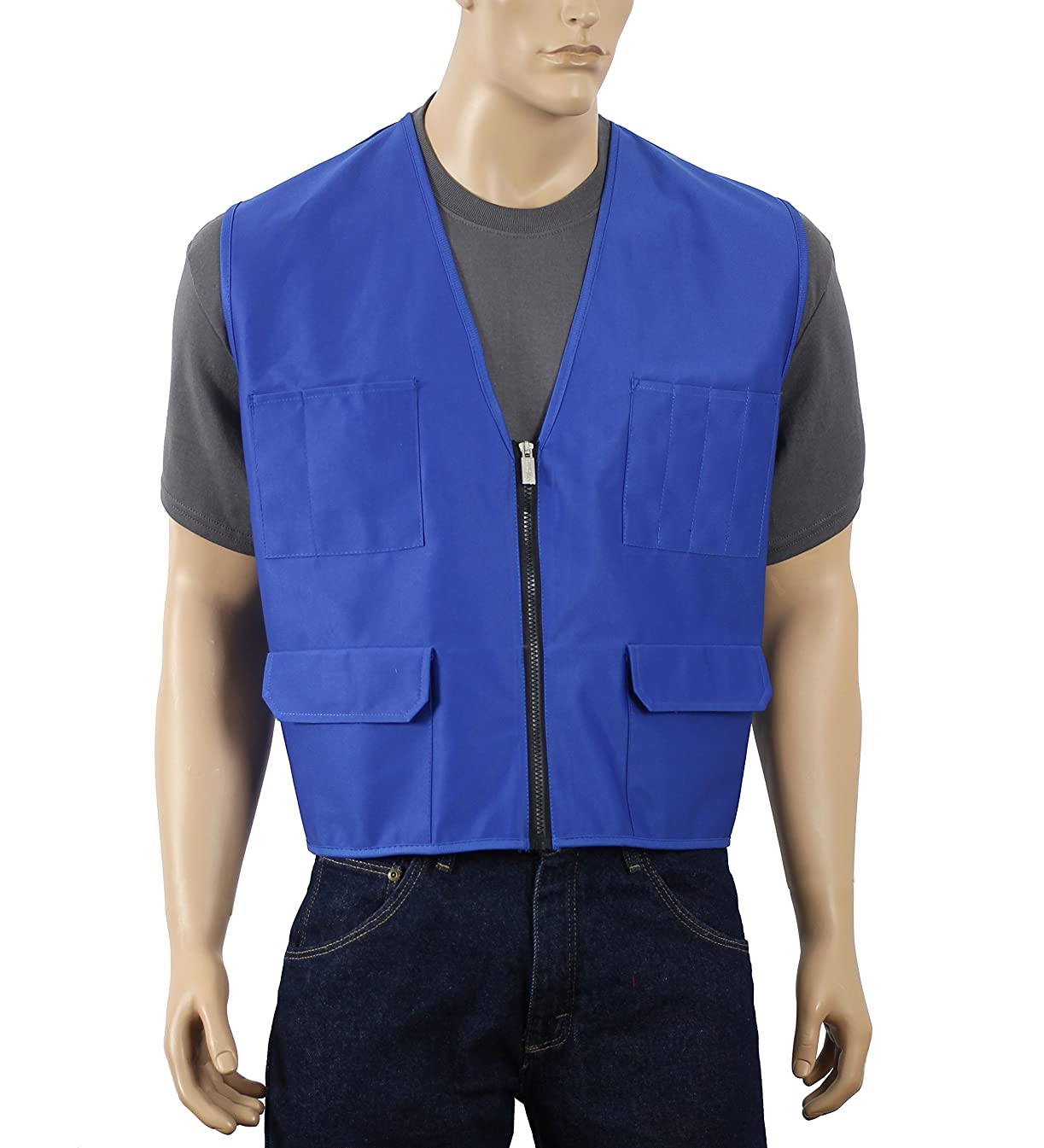 Safety Depot Multiple Colors Safety Vest with Pockets No Stripe Reflective Tape Simple Economy 8038B (Royal Blue, Medium)