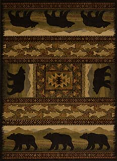 United Weavers of America Affinity Collection Black Bears Rug, 1.10 by 3-Feet - Brown
