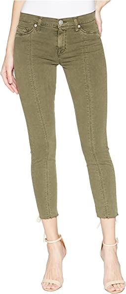 Nico Mid-Rise Crop Lace-Up Skinny Pants in Crushed Olive