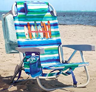 Tommy Bahama Backpack Beach Chair Lounger w Storage Pockets and Pillow- Surfboards with Blue, White Aqua Stripes