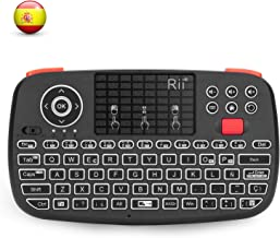 Rii i4 Mini bluetooth teclado inalámbrico retroiluminado, 2 en 1 (Bluetooth & Wireless 2.4 GHz), Qwerty español, para iOS, Android.,Windows