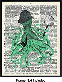 Sherlock Holmes Octopus - Unframed Dictionary Wall Art Print - Steampunk Chic - Great For Home Decor and Easy Gift Giving - Ready to Frame Vintage (8X10) Photo