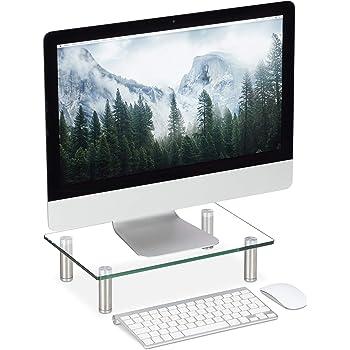 Relaxdays Soporte Monitor, Elevador Pantalla Ordenador, Portátil, Ajustable, Cristal, 1 Ud, 38,5 x 24 cm, Transparente: Amazon.es: Hogar
