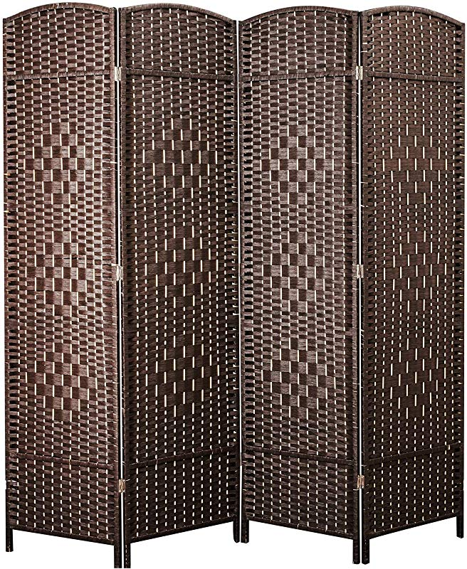 Cocosica Weave Fiber Room Divider Natural Fiber Folding Privacy Screen With Diamond Double Weaved 4 Panel Room Screen Divider Separator For Decorating Bedding Dining Study And Sitting Room